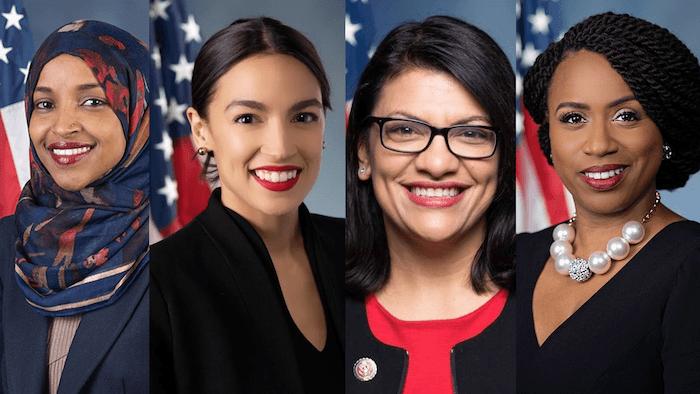 Alexandria Ocasio-Cortez, Rashida Tlaib, Ayanna Pressley, Ilhan Omer - US congress women
